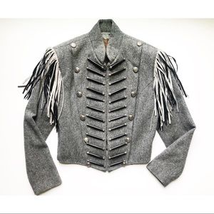 Double D Ranch 1990s Gray Wool Military Jacket